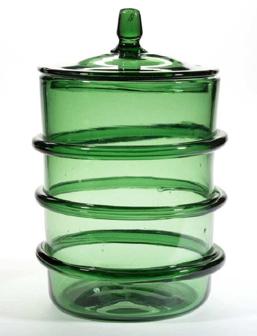 FREE-BLOWN RINGED STORAGE JAR