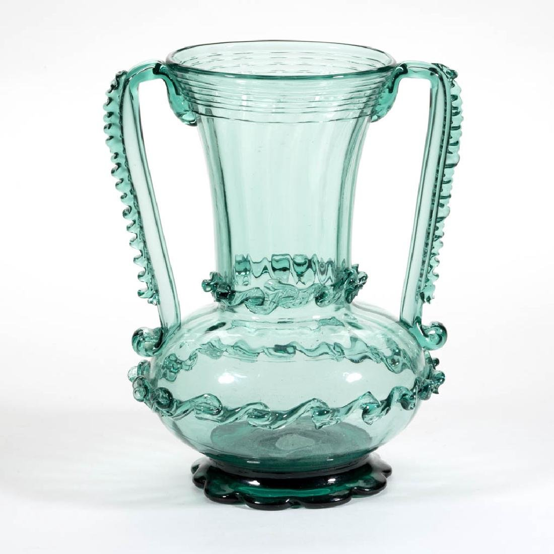 PATTERN-MOLDED AND DECORATED TWO-HANDLE VASE