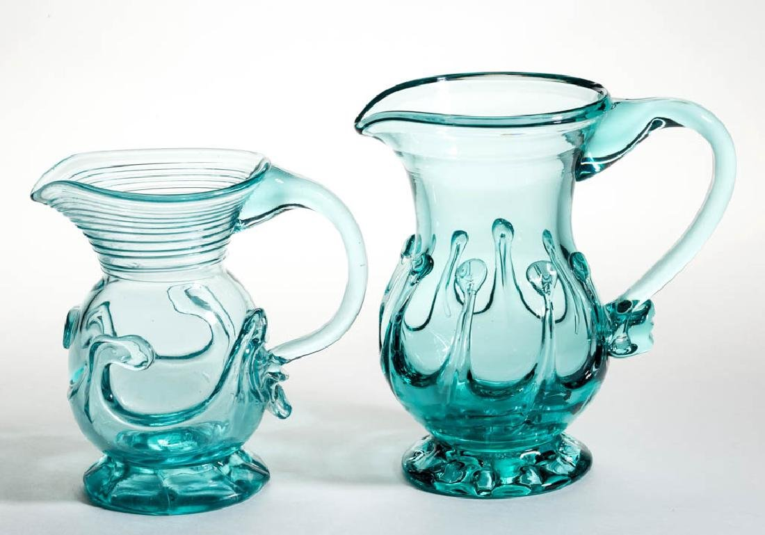 REPRODUCTION FREE-BLOWN LILY-PAD PITCHERS, LOT OF TWO