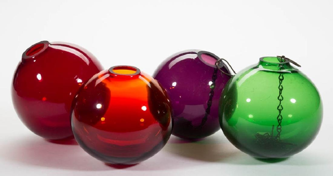 BLOWN GLASS WITCH BALLS, LOT OF FOUR
