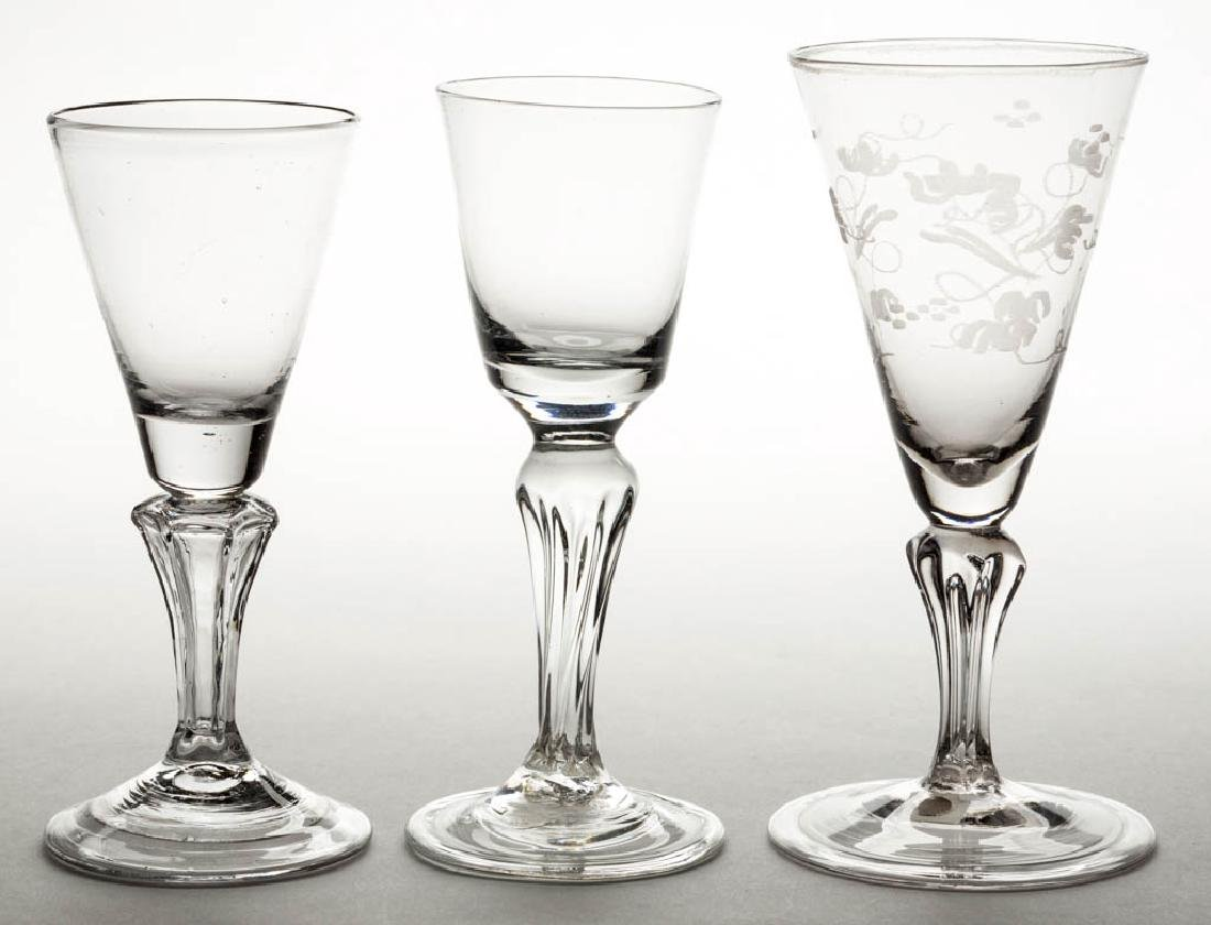CONTINENTAL FREE-BLOWN MOLDED-PEDESTAL WINE GLASSES,
