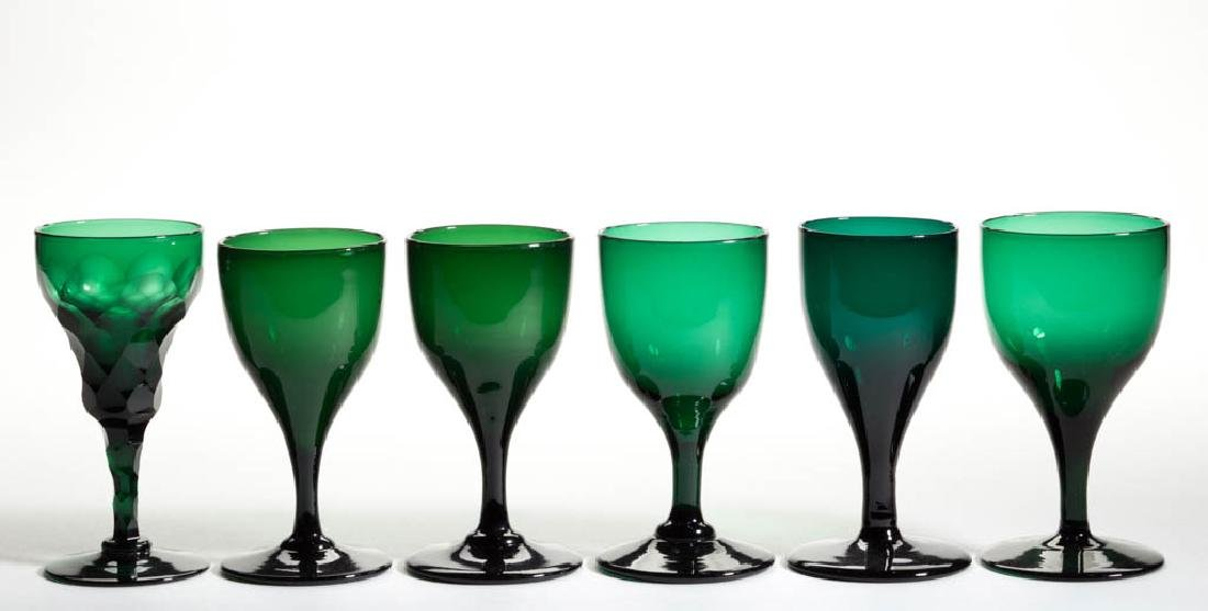 ENGLISH FREE-BLOWN COLORED GLASS WINE GLASSES, LOT OF