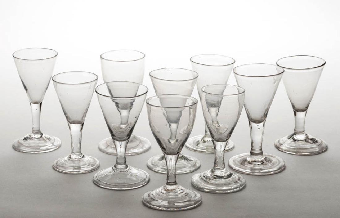 ASSORTED FREE-BLOWN WINE GLASSES, LOT OF TEN
