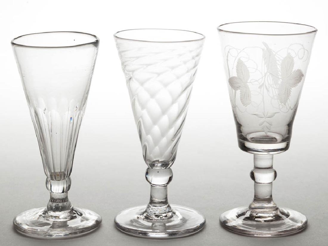 ENGLISH BLOWN ALE GLASSES, LOT OF THREE