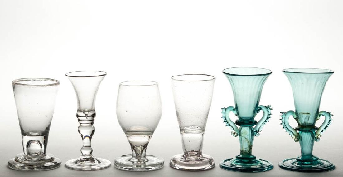 ASSORTED FREE-BLOWN DRINKING VESSELS, LOT OF FOUR