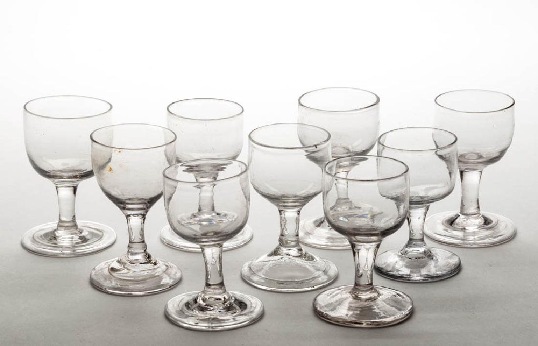 ASSORTED FREE-BLOWN WINE GLASSES, LOT OF NINE