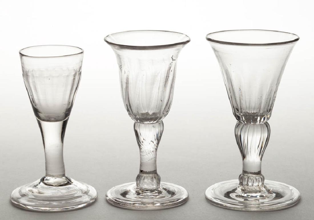 ASSORTED PATTERN-MOLDED WINE GLASSES, LOT OF THREE