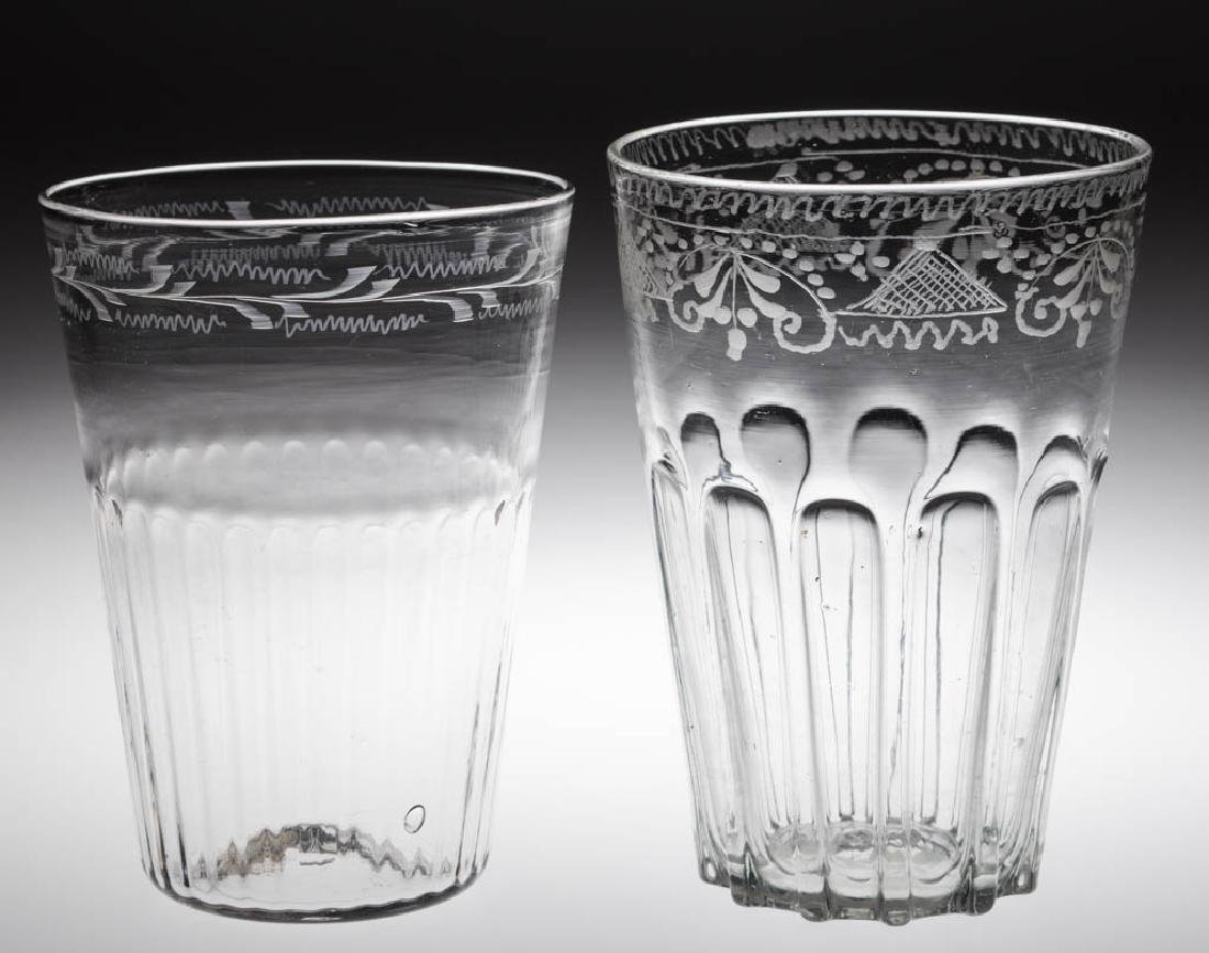 PATTERN-MOLDED AND ENGRAVED FLIP GLASSES, LOT OF TWO