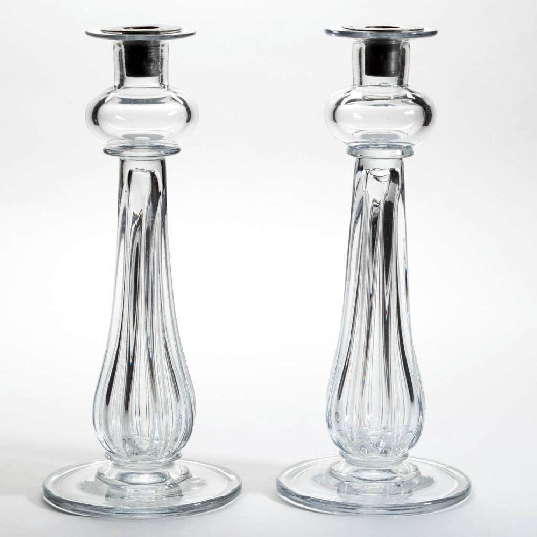 EXCEPTIONAL FREE-BLOWN AND PILLAR-MOLDED PAIR OF