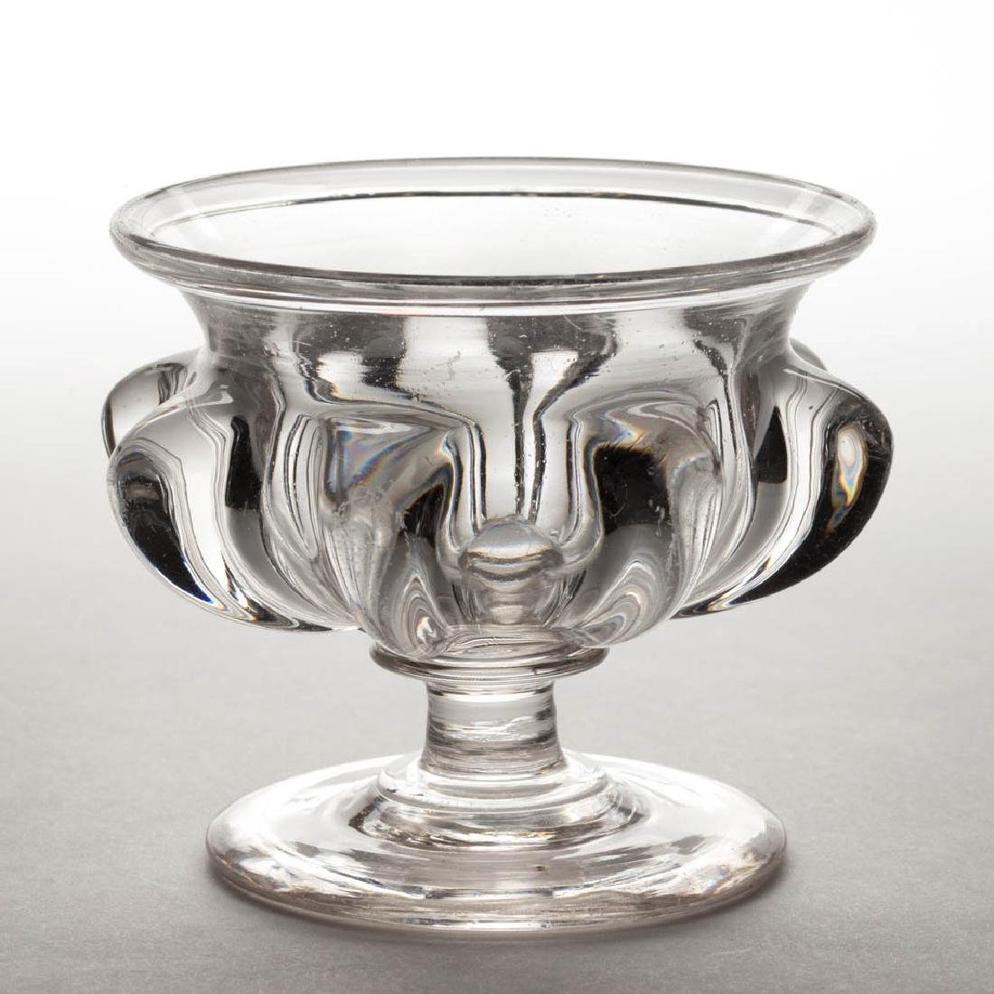 PILLAR-MOLDED FOOTED OPEN SUGAR BOWL