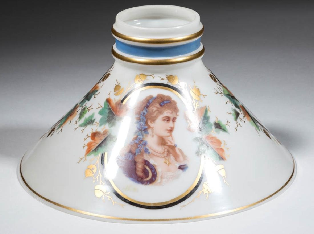 DECORATED OPAL CONE-FORM LAMP SHADE - 3