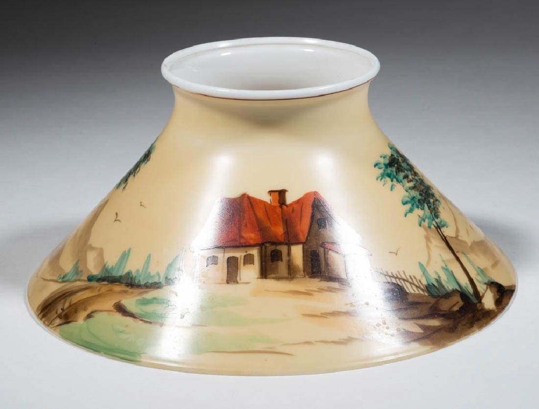 DECORATED OPAL CONE-FORM LAMP SHADE