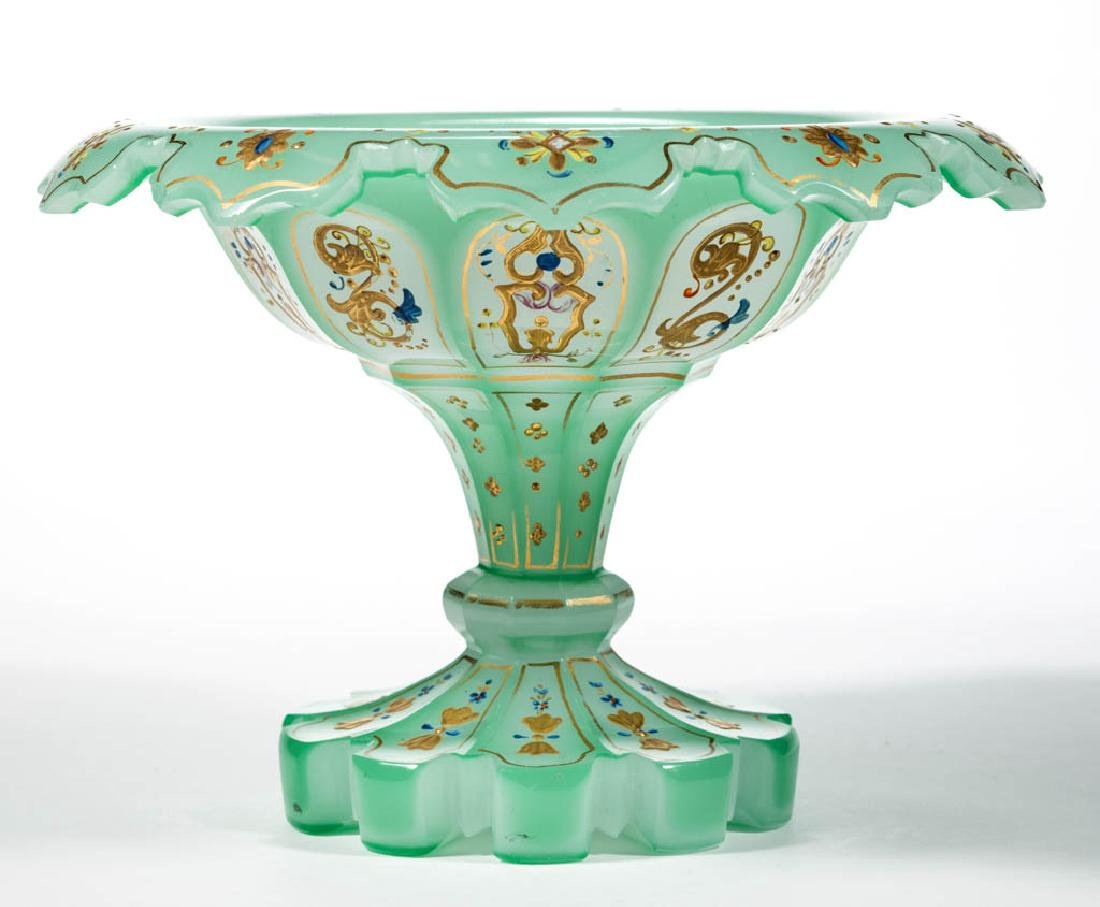BOHEMIAN CUT OVERLAY GLASS COMPOTE