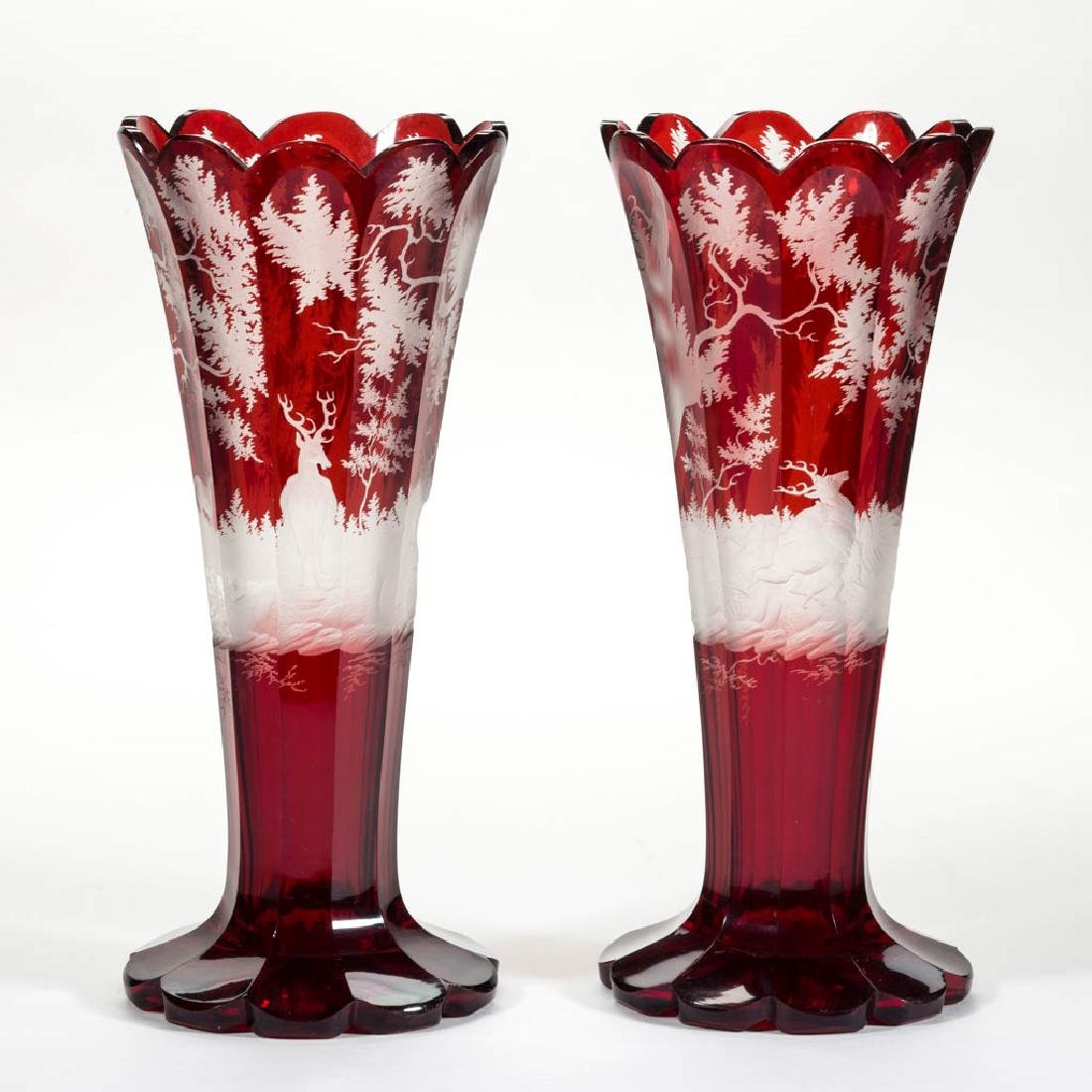 BOHEMIAN CUT, ENGRAVED, AND RUBY-STAINED PAIR OF VASES