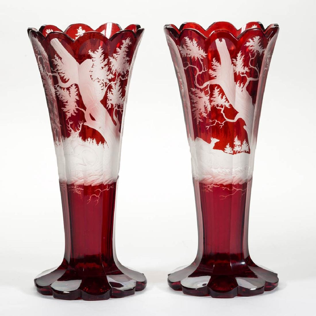 BOHEMIAN CUT, ENGRAVED, AND RUBY-STAINED PAIR OF VASES - 2