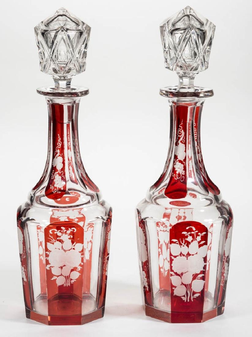 BOHEMIAN CUT, ENGRAVED, AND RUBY-STAINED PAIR OF QUART