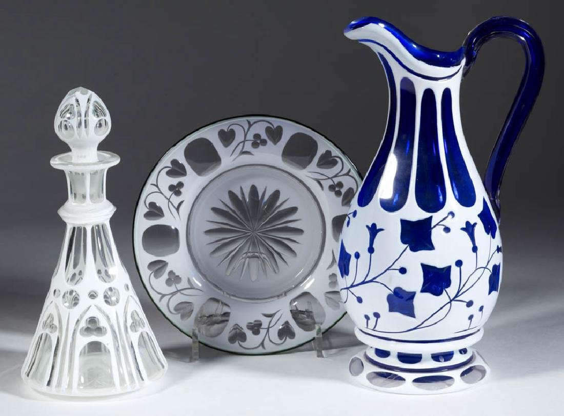 ASSORTED BOHEMIAN CUT OVERLAY GLASS ARTICLES, LOT OF