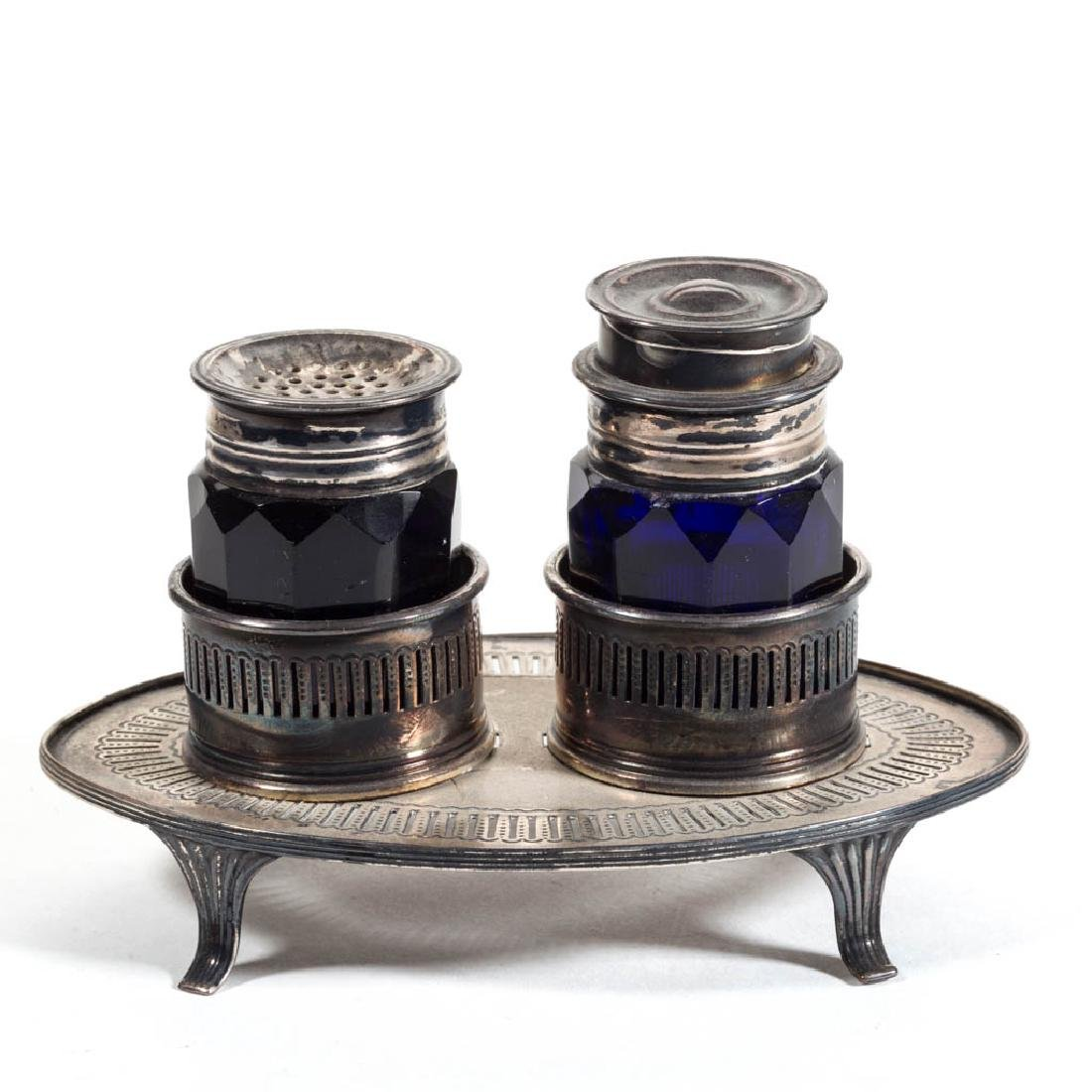ENGLISH CUT GLASS AND SILVER-PLATED INKSTAND