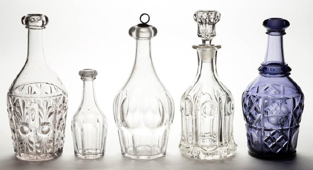 ASSORTED FLINT EAPG AND RELATED DECANTERS, LOT OF FIVE