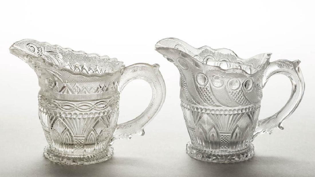 ASSORTED PRESSED LACY GOTHIC ARCH AND PALM CREAMERS,