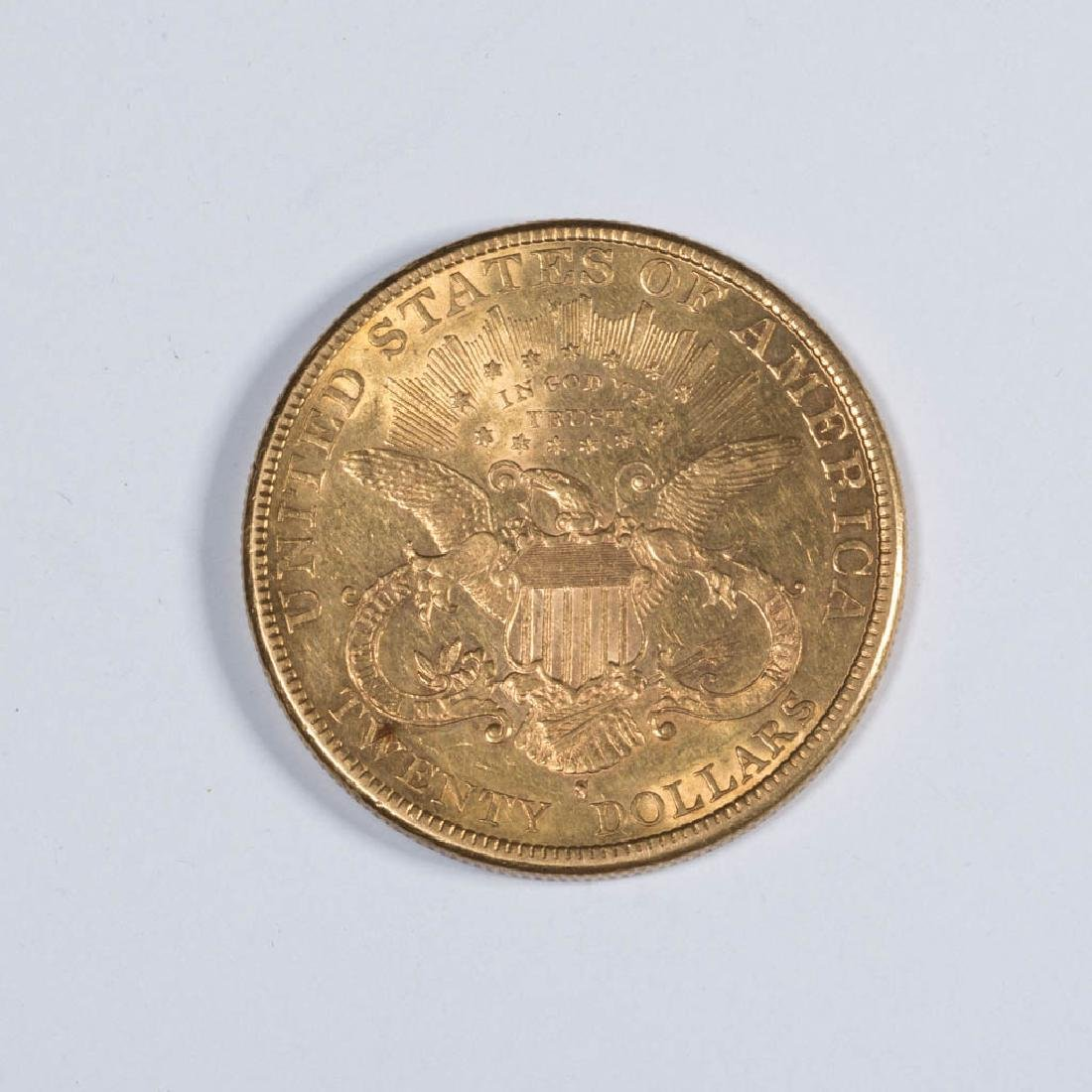 UNITED STATES 1896-S LIBERTY HEAD $20 GOLD COIN - 2