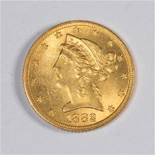 UNITED STATES 1882 LIBERTY HEAD 5 GOLD COIN