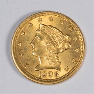 UNITED STATES 1906 LIBERTY HEAD 25 GOLD COIN
