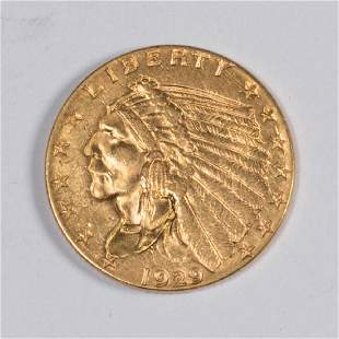 UNITED STATES 1929 INDIAN HEAD 25 GOLD COIN