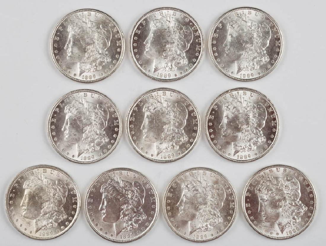 UNITED STATES SILVER 1889 MORGAN DOLLAR COINS, LOT OF