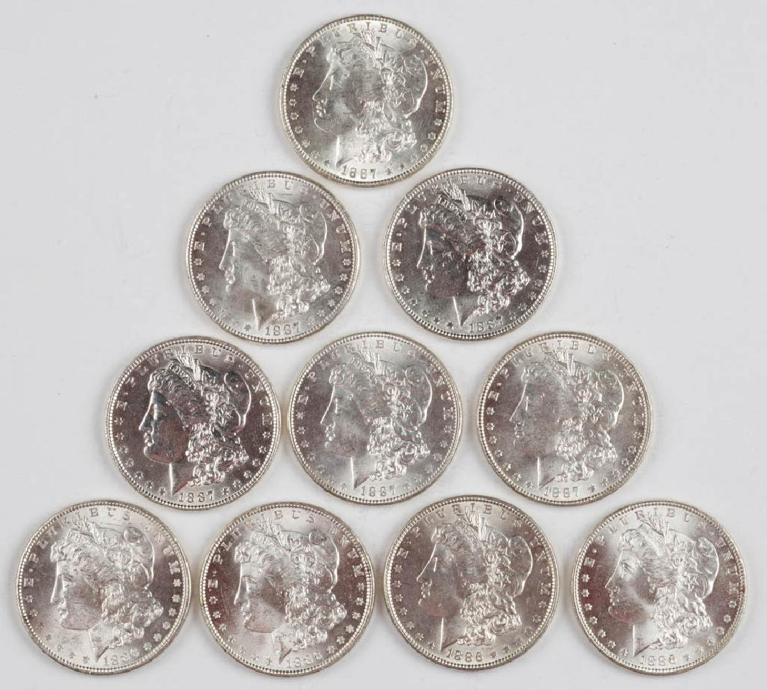 UNITED STATES SILVER 1887 MORGAN DOLLAR COINS, LOT OF