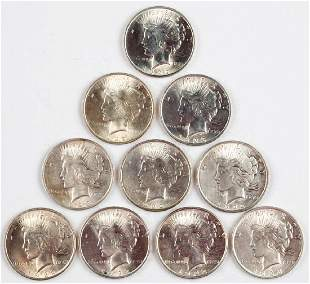 UNITED STATES SILVER PEACE DOLLAR COINS LOT OF 10