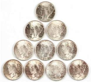 UNITED STATES SILVER 1922 PEACE DOLLAR COINS LOT OF 10
