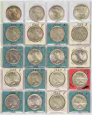 UNITED STATES SILVER PEACE DOLLAR COINS LOT OF 20