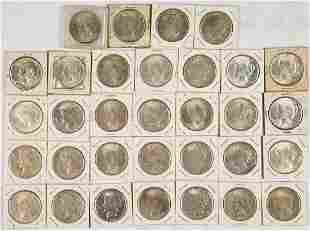 UNITED STATES SILVER PEACE DOLLAR COINS LOT OF 32