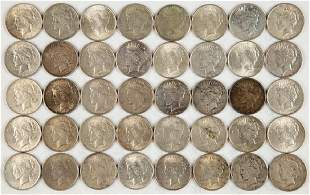 UNITED STATES SILVER PEACE DOLLAR COINS LOT OF 40
