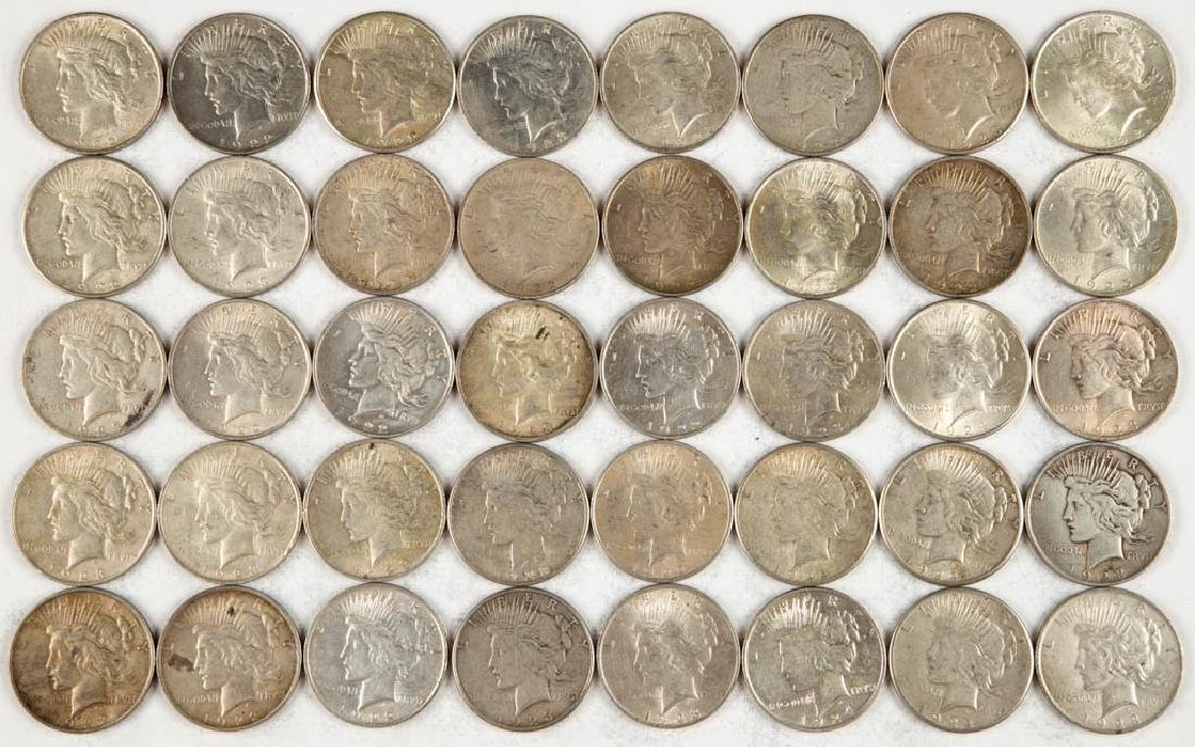 UNITED STATES SILVER PEACE DOLLAR COINS, LOT OF 40
