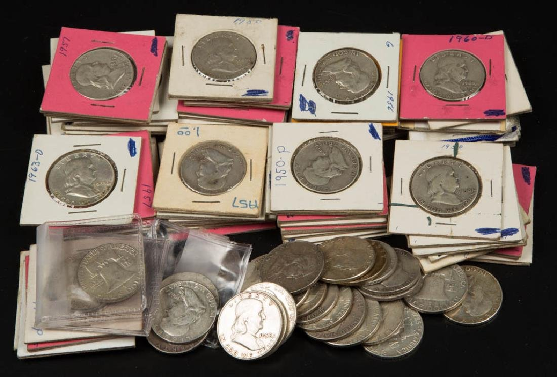UNITED STATES SILVER FRANKLIN HALF DOLLAR COINS, LOT OF