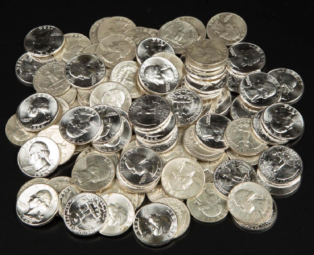 UNITED STATES SILVER WASHINGTON 25C COINS, LOT OF 100