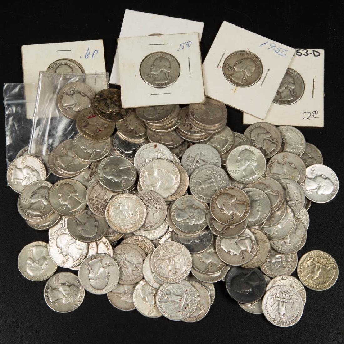 UNITED STATES SILVER WASHINGTON 25C COINS, LOT OF 132