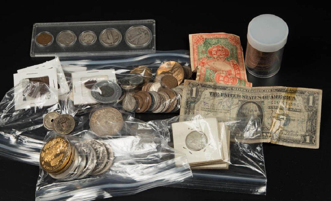ASSORTED UNITED STATES AND FOREIGN COINS, MEDALS AND