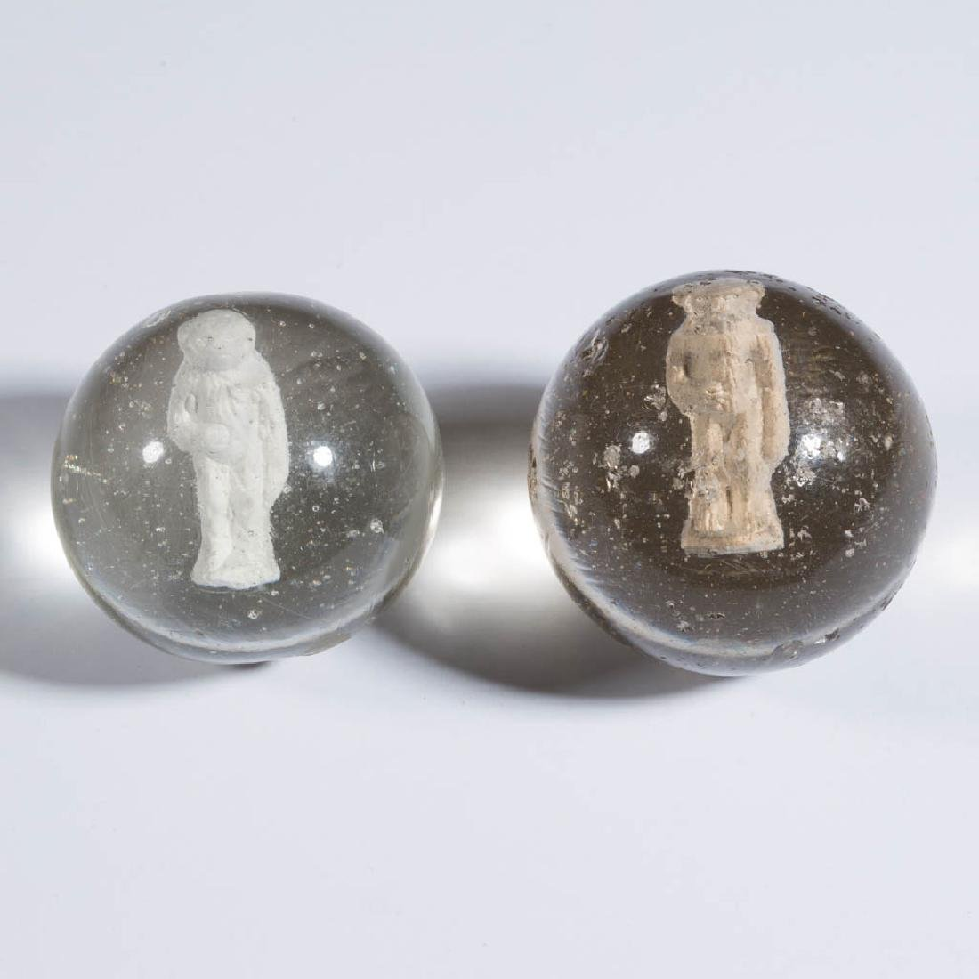 ASSORTED ANIMAL-FIGURE SULPHIDE MARBLES, LOT OF TWO