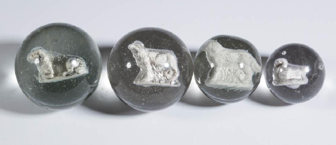 ASSORTED ANIMAL-FIGURE SULPHIDE MARBLES, LOT OF FOUR