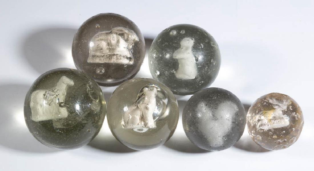ASSORTED ANIMAL-FIGURE SULPHIDE MARBLES, LOT OF SIX
