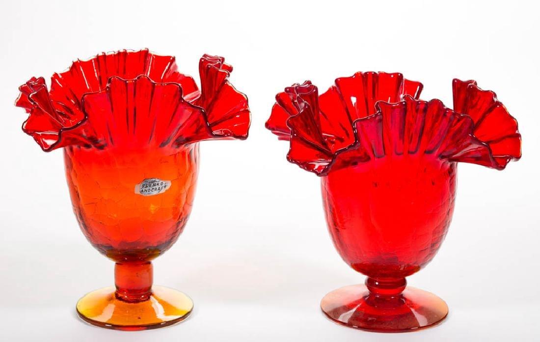 BLENKO NO. 487 GLASS - WINSLOW ANDERSON PAIR OF VASES