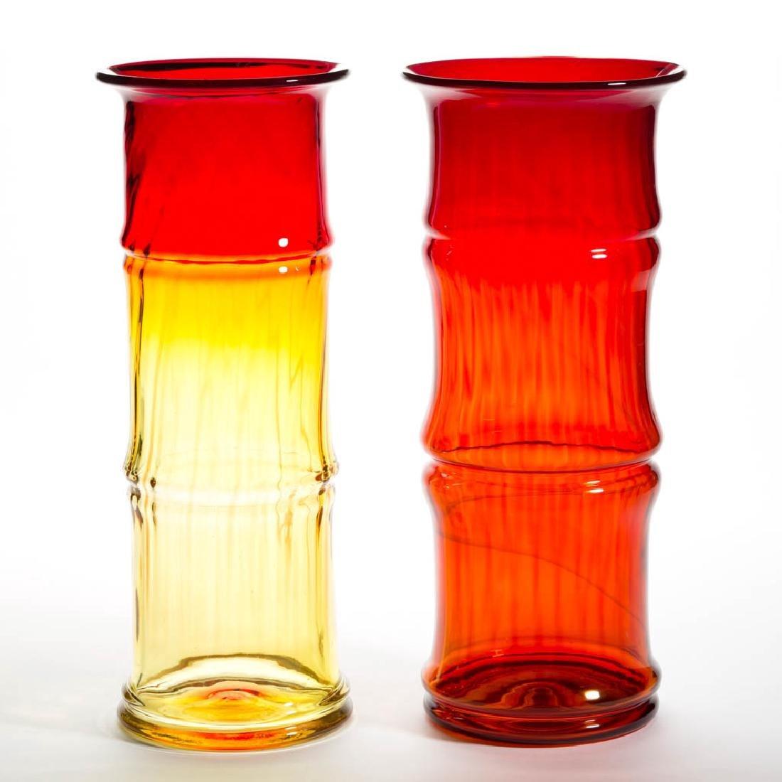 BLENKO GLASS - DON SHEPERD BAMBOO VASES, LOT OF TWO