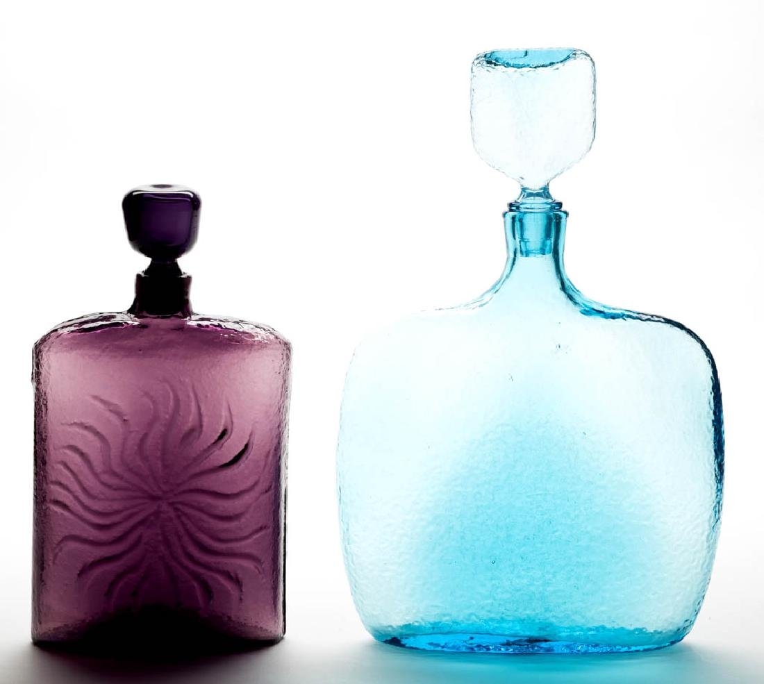 BLENKO TEXTURED GLASS DECANTERS, LOT OF TWO
