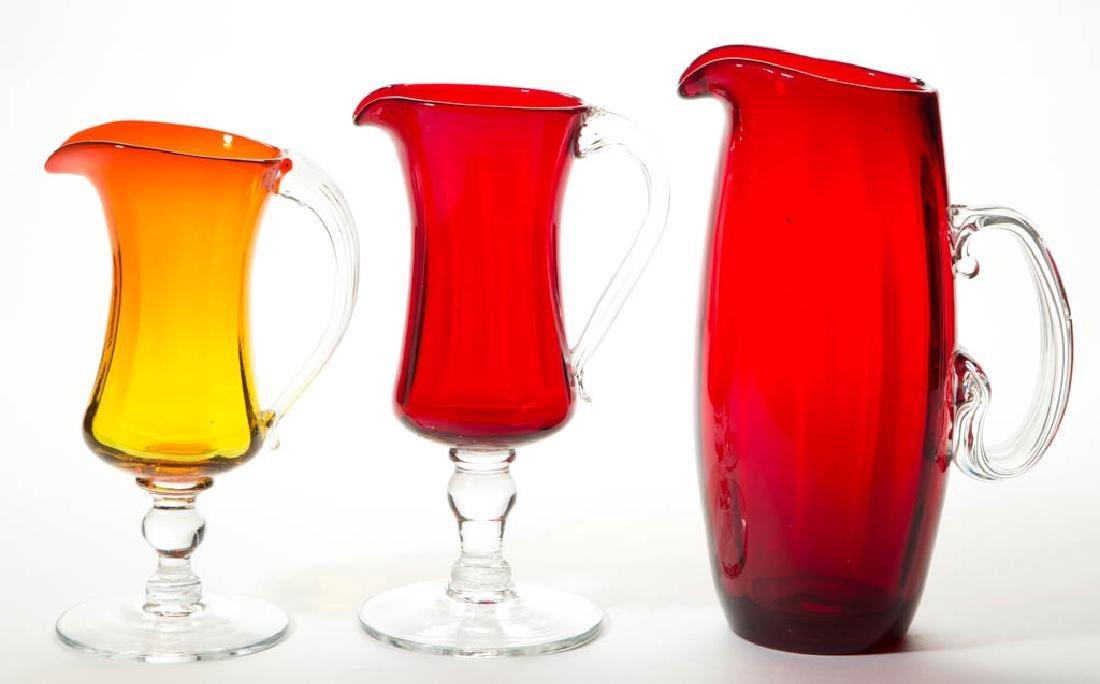 BLENKO RUBY GLASS DRINKING ARTICLES, LOT OF THREE