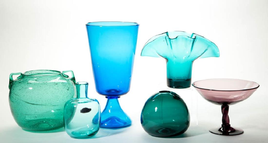 BLENKO GLASS VASES, LOT OF SIX