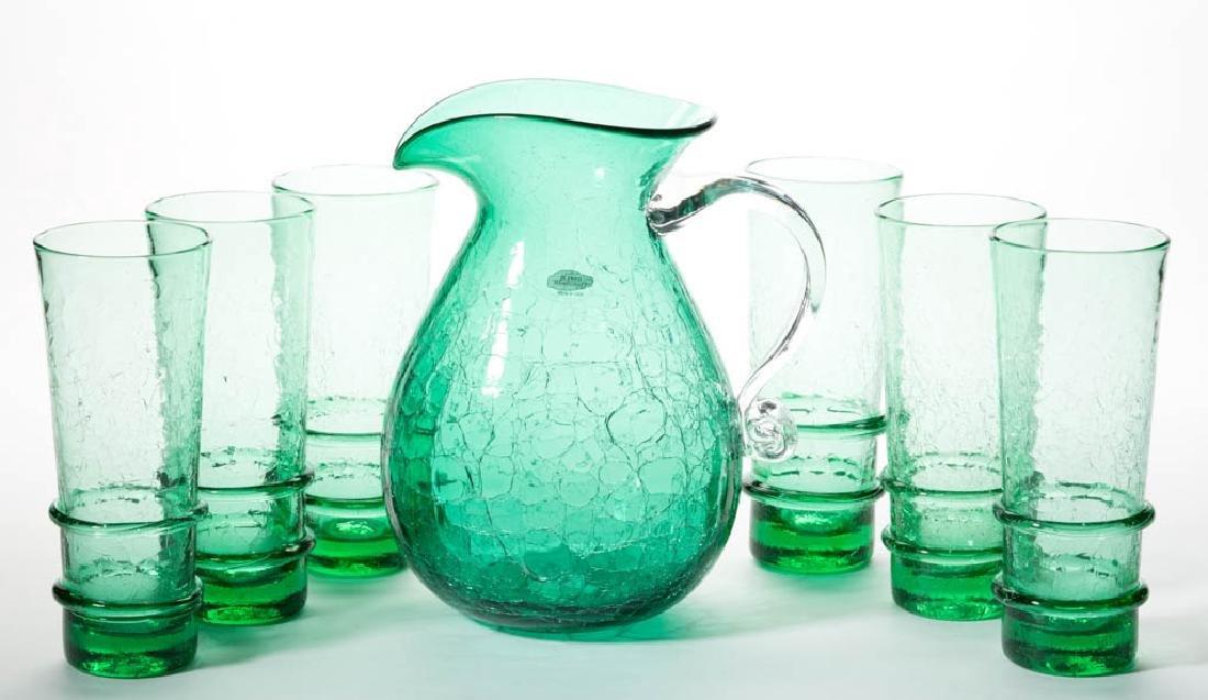 BLENKO CRACKLE GLASS SEVEN-PIECE HIBALL SET