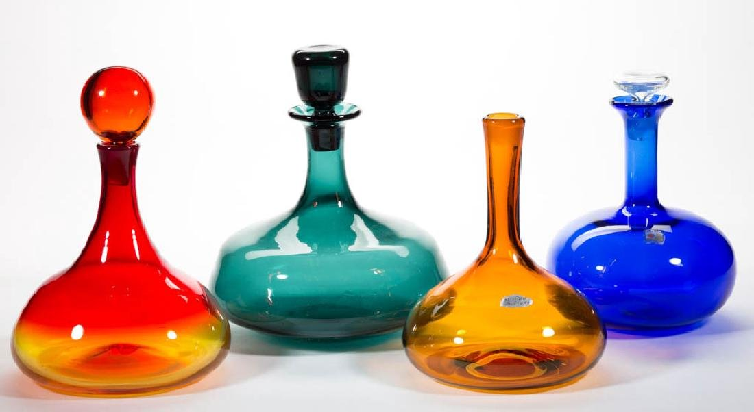 BLENKO BULBOUS FORM GLASS DECANTERS, LOT OF FOUR